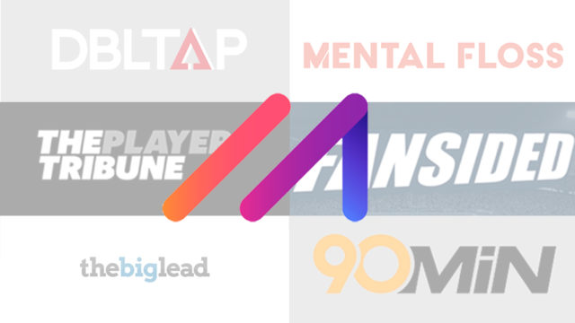 The Minute Media logo in the forefront with logos for other media companies like 90min, DBLTAP, 12up, Mental Floss, The Big Lead and FanSided in the background