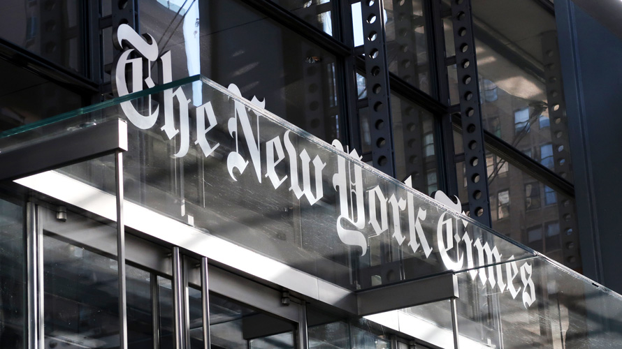 New York Times signage on a building