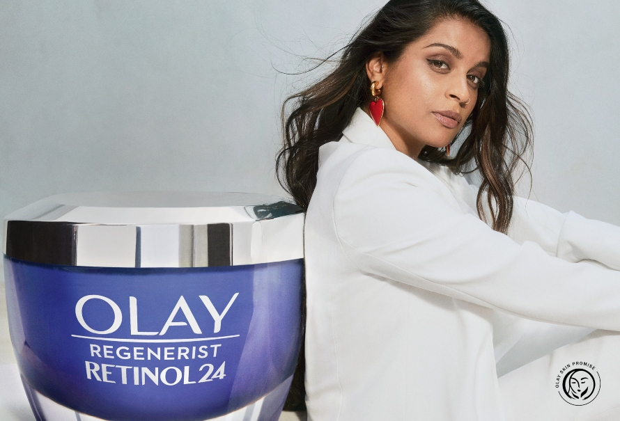 "An image of Lilly Singh featuring Olay's ""Skin Promise"" seal"