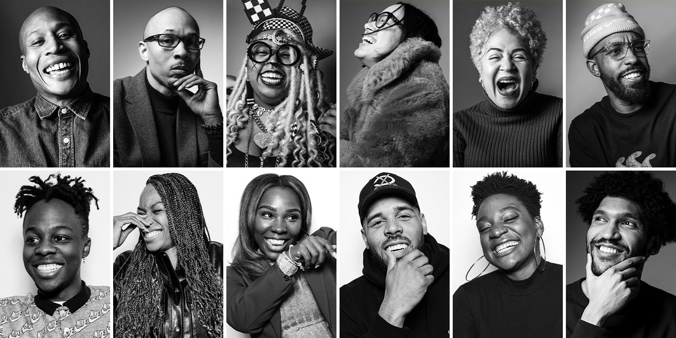 A black and white portrait series shows 12 black advertising professionals, mostly smiling and happy, some laughing