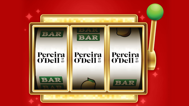 a winning slot machine with pereira and o'dell on all the wheels
