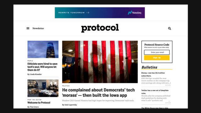 Protocol, New Tech Site From Politico's Publisher, Is Up and Running