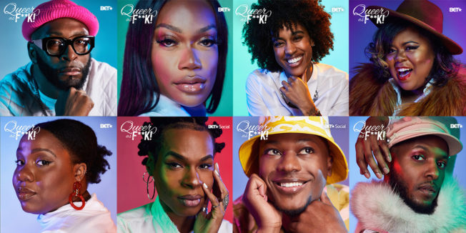 8 portraits of black queer creators who were featured on BET's Instagram by the Queer As F**K franchise
