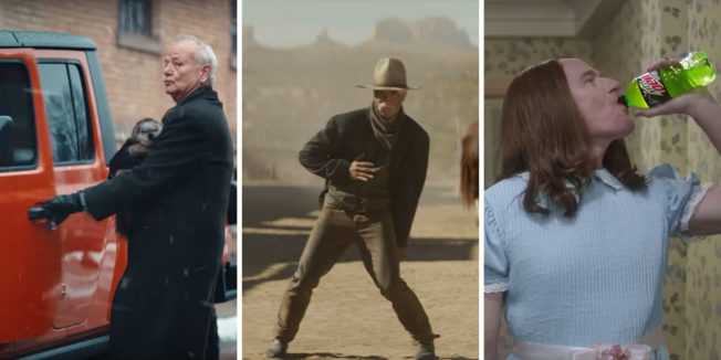 bill murray opening the door of a jeep on the left, someone dancing in a dessert in the middle, and someone drinking a mountain dew on the right