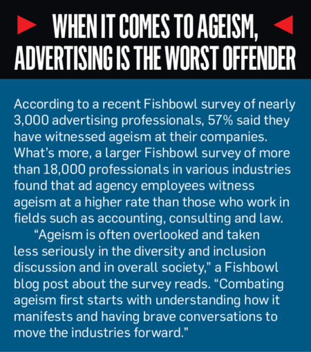 A sidebar with the title, 'When it comes to ageism, advertising is the worst offender'