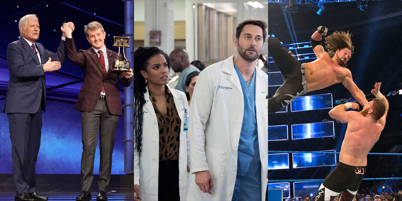 Stills from Jeopardy, New Amsterdam and WWE Friday Night SmackDown