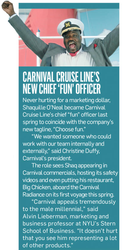 a sidebar about shaq on carnival cruise