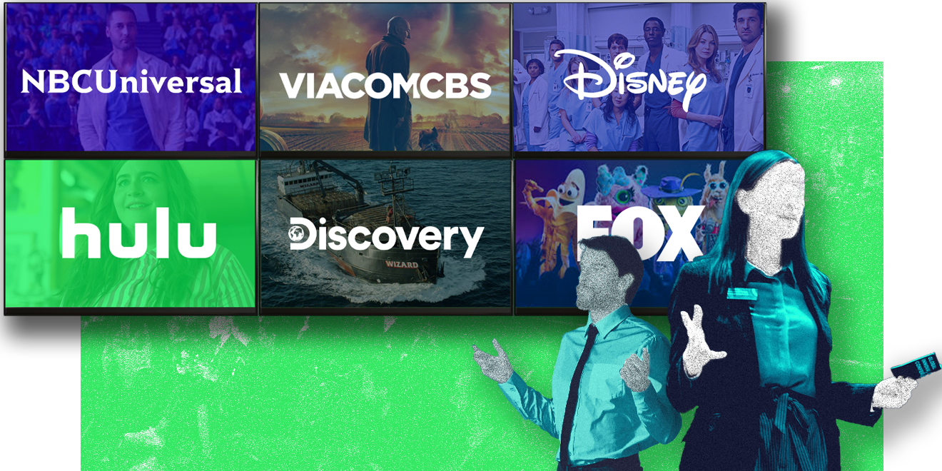 An illustration featuring the logos of NBCUniversal, ViacomCBS, Disney, Hulu, Discovery and Fox with illustrations of a man and a woman