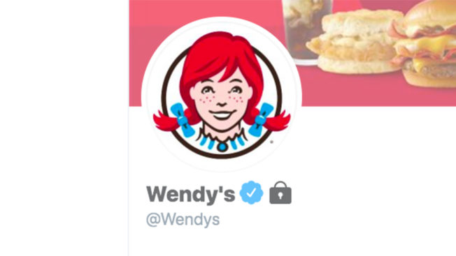 A screenshot of the locked Wendy's Twitter account