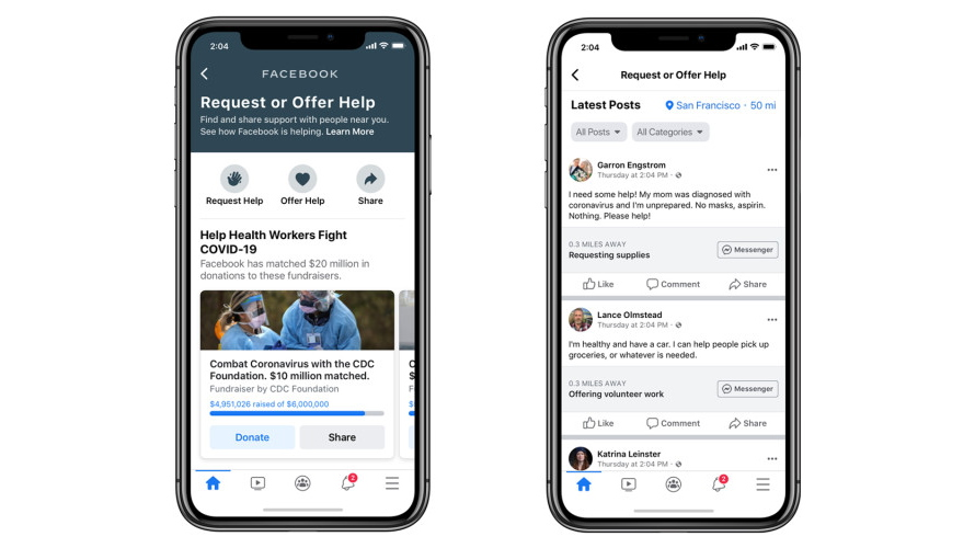 Two smartphones showing Facebook's Community Help feature