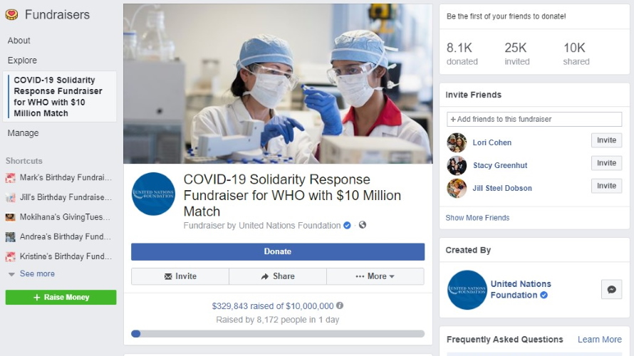 Facebook to Match Up to $20M in Donations for Coronavirus Relief ...