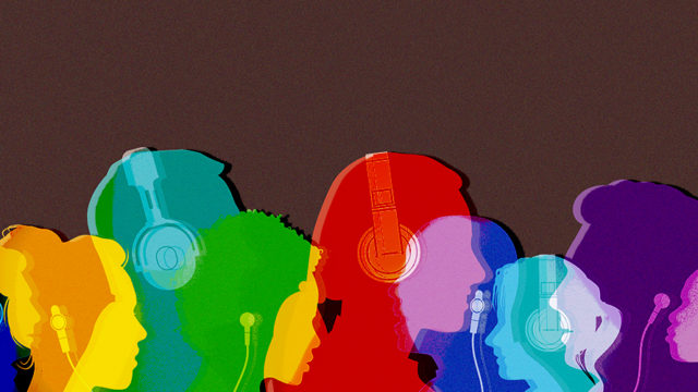 colorful people listening to podcasts