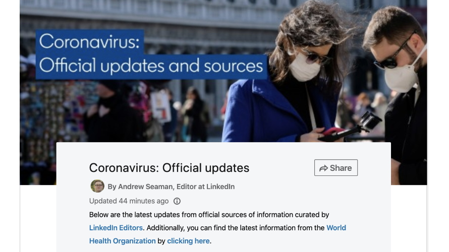 A photo of two people wearing masks next to text about the coronavirus