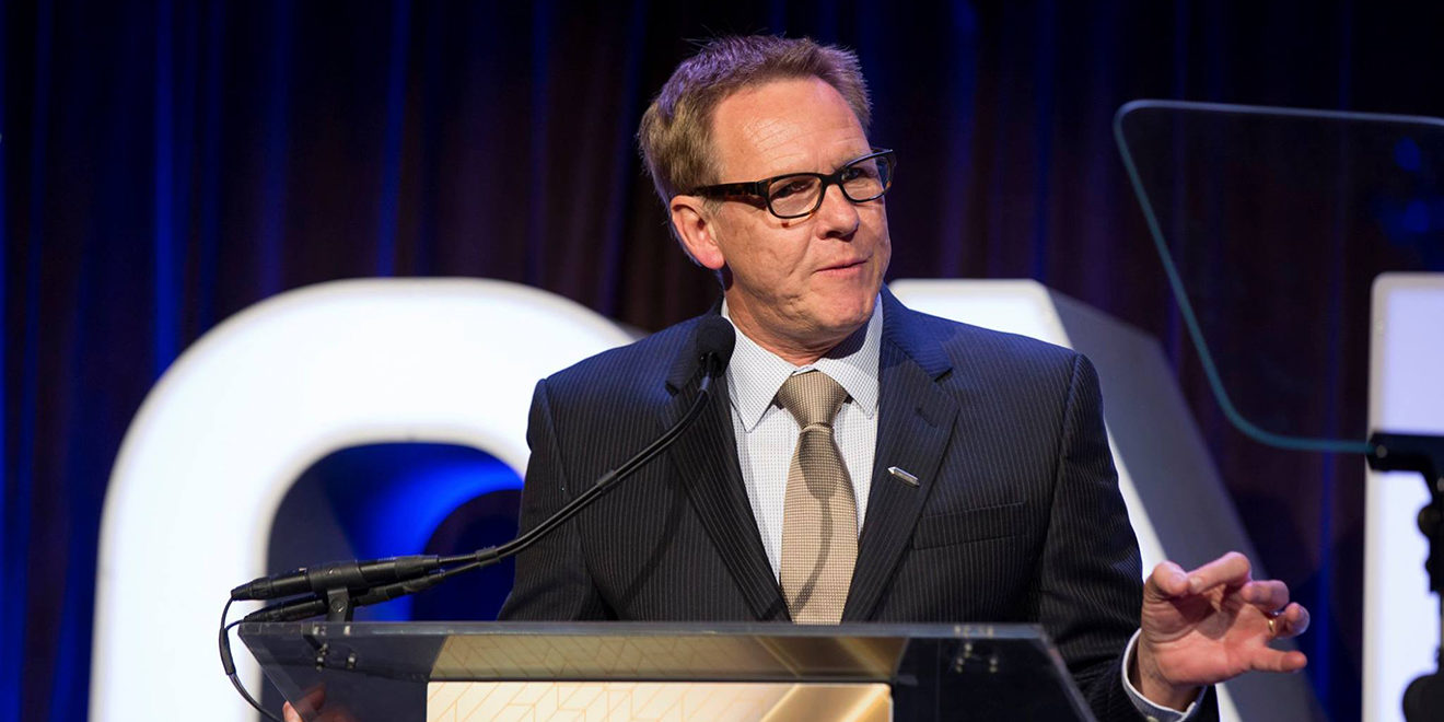 One Club CEO Kevin Swanepoel presents at a previous One Show awards ceremony.