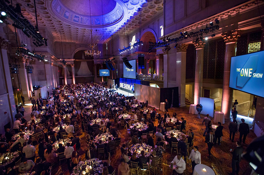 An overhead shot of the One Show gala