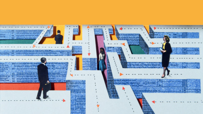 An illustration of business people walking through a maze