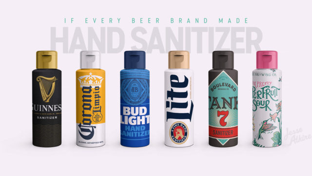 Photo of different hand sanitizers from different beer brands like Guinness, Corona, Bud Light and Miller Lite