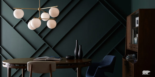 A virtual background of a table, lights and cabinet