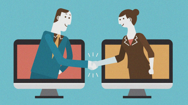 Business concept illustration of man and woman come out of computer monitor for a handshake
