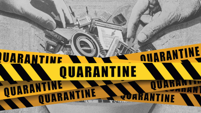 quarantine yellow tape with hands in the background