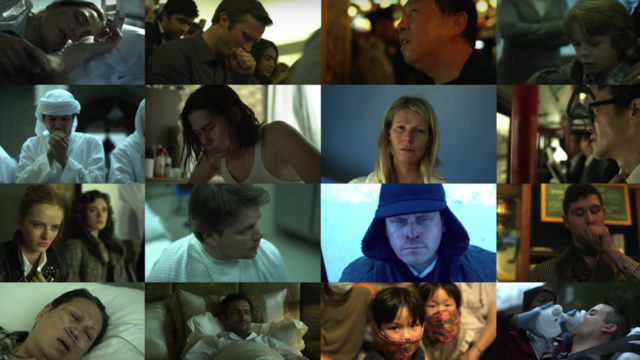 a collage of scenes from the film Contagion
