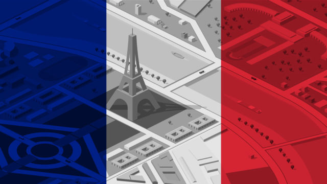 The colors of the French flag and an overhead view of the Eiffel Tower