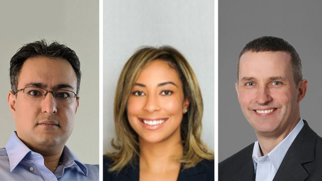 (L-R) Dentsu Aegis Network chief data officer Akash Jairath, chief programmatic officer Christina Mohebbi and chief technology officer Nathan Carver.