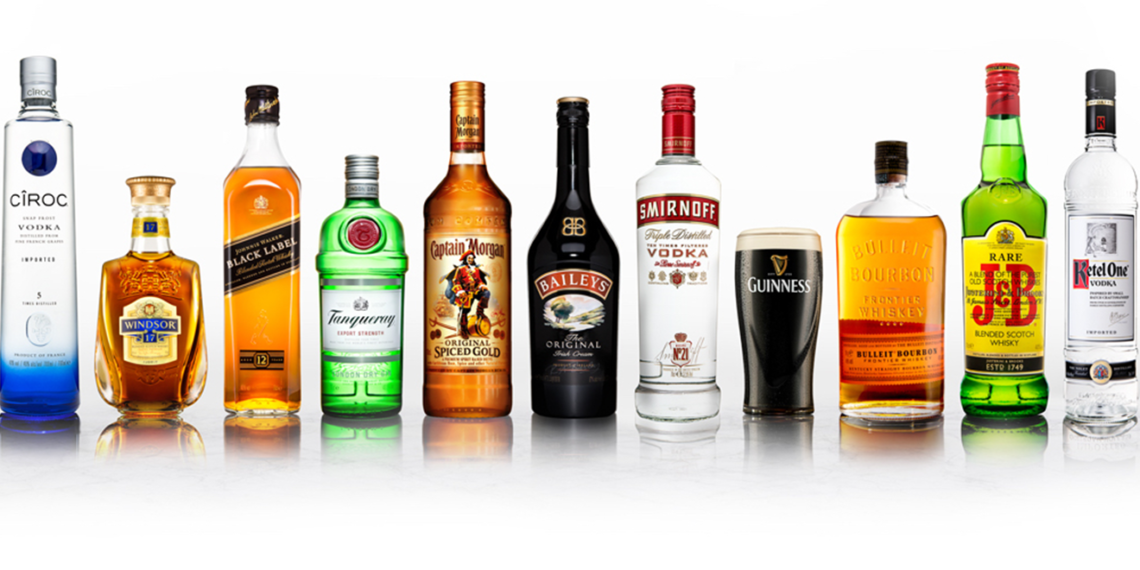 bottles of diageo-owned liquors