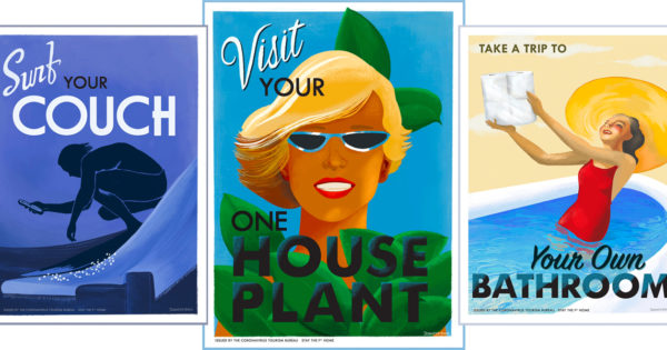 Vintage Travel Posters Are Reimagined for Social Distancing