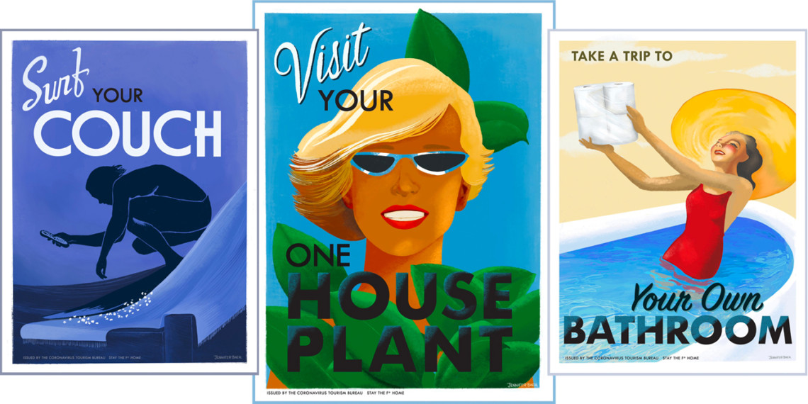 three stay at home travel posters