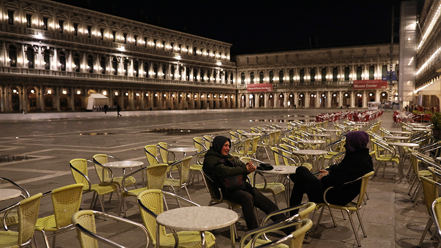 Venice's San Marco Square with only two people in it