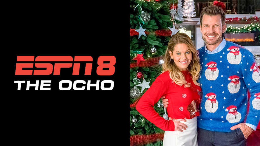 espn8 the ocho logo and a hallmark christmas movie still photo