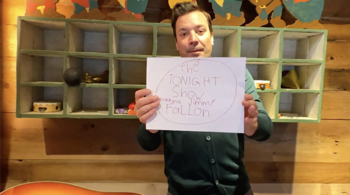 jimmy fallon doing his monologue at home