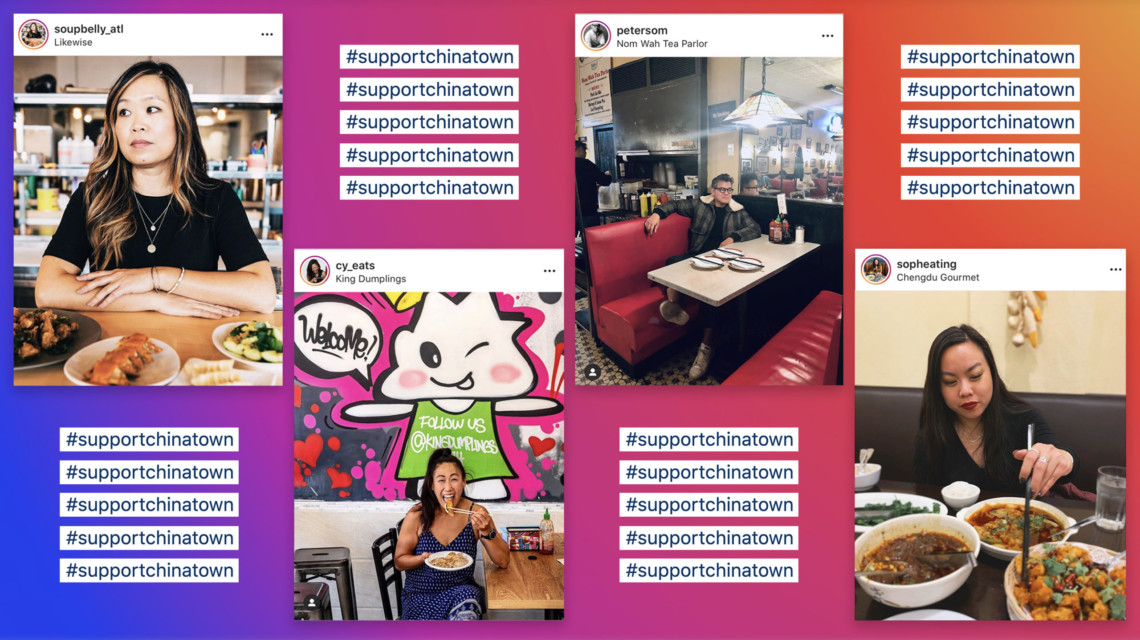 four instagram photos of food bloggers against a pink and purple background that reads #SupportChinatown