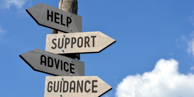 Arrows pointing in different directions with words on them like 'Help,' 'Support,' 'Advice' and 'Guidance'