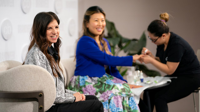 Glamsquad CEO Amy Shecter discussed new CVS partnership at Adweek's Challenger Brands summit with departments editor Ko Im, who received a live manicure at the Challenger Brands Summit.
