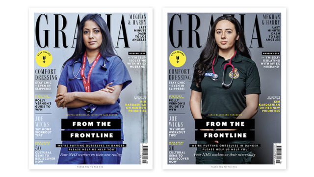 Two medical workers on two different covers of Grazia