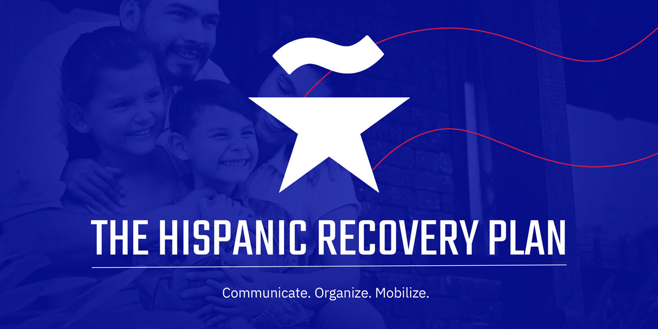 Text that says The Hispanic Recovery Plan along with a star with an 'eñe' on top