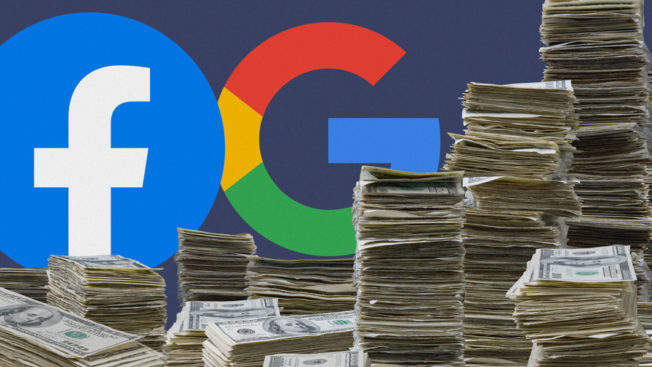 google and facebook logos with stacks of money