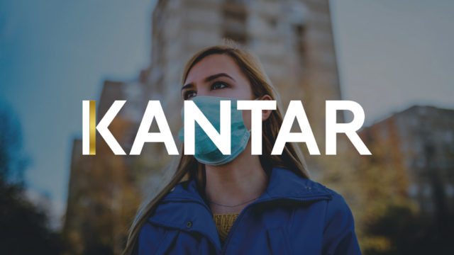 Kantar logo with a woman wearing a medical mask behind it