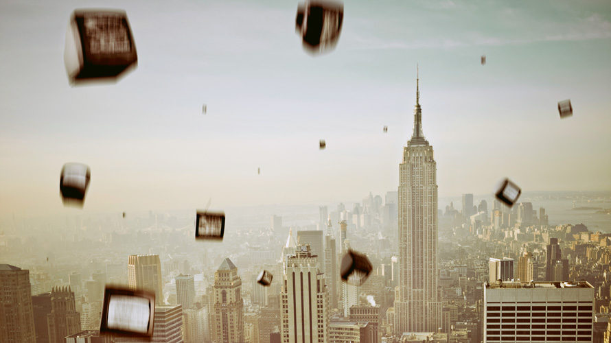 tvs falling out of the sky over new york