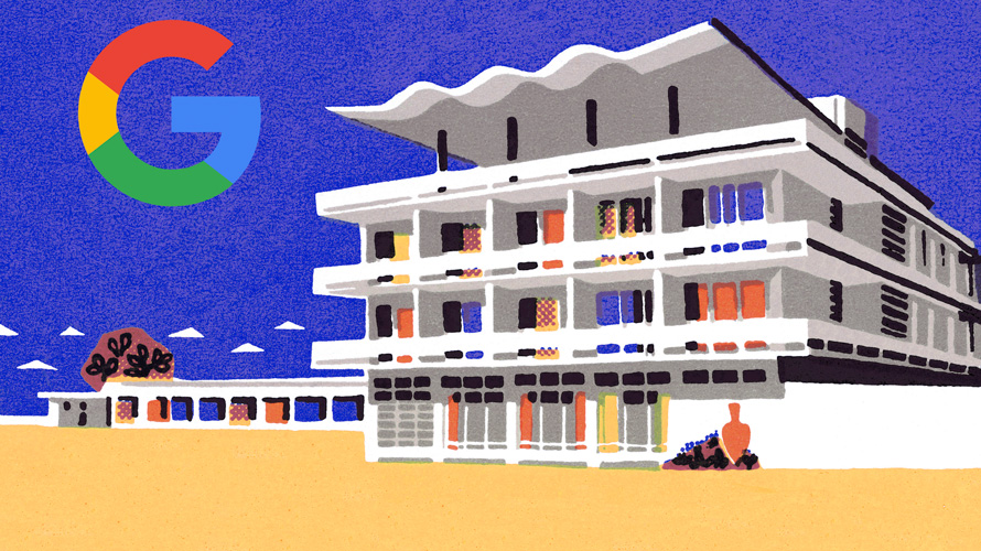 an illustration of a beachfront hotel