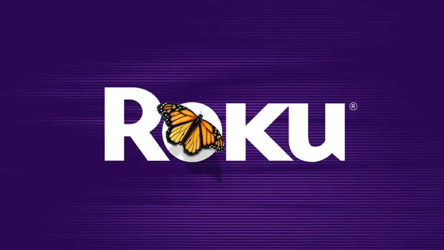 the roku logo with a butterfly on it