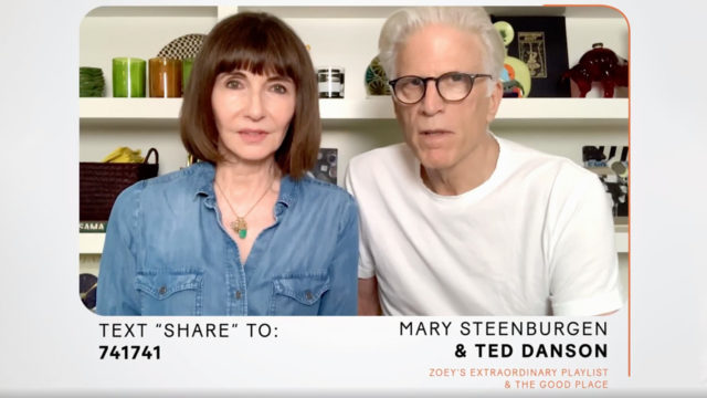 A video still of Mary Steenburgen and Ted Danson