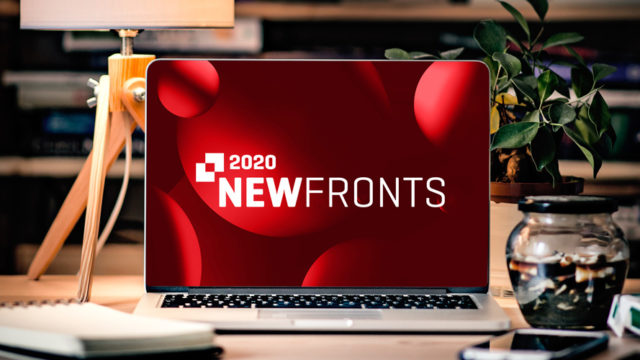 a laptop screen showing the newfronts logo