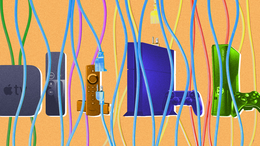 Wires in front of devices like a PlayStation 4 and an Xbox 360