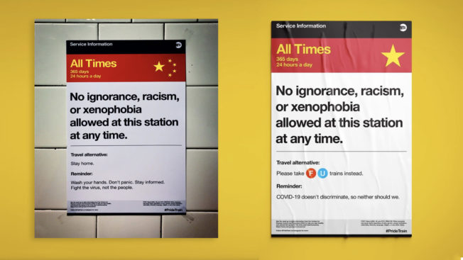 Side by side photographs of the Pride Train subway poster