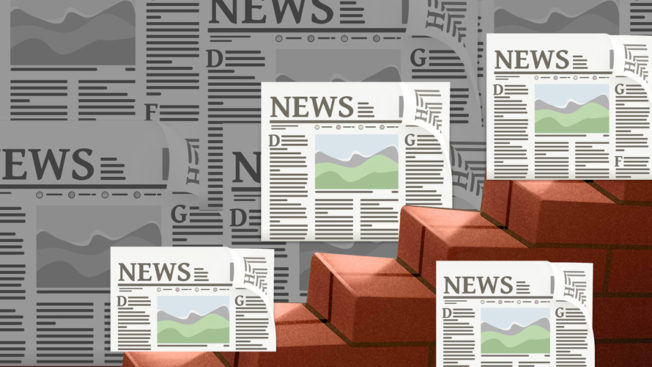 An illustration of newspapers near brick