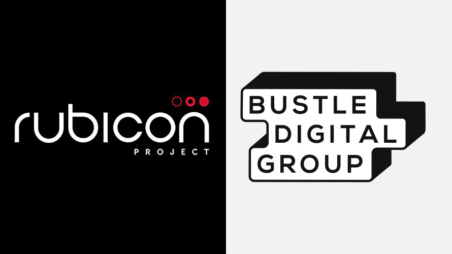 side-by-side image of Rubicon Project and Bustle Digital Group logos