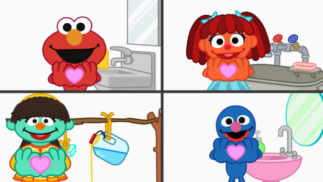 Illustration of Sesame Street characters making a heart with their hands